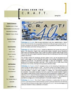 C.R.A.F.T. Spring 2015 Newsletter